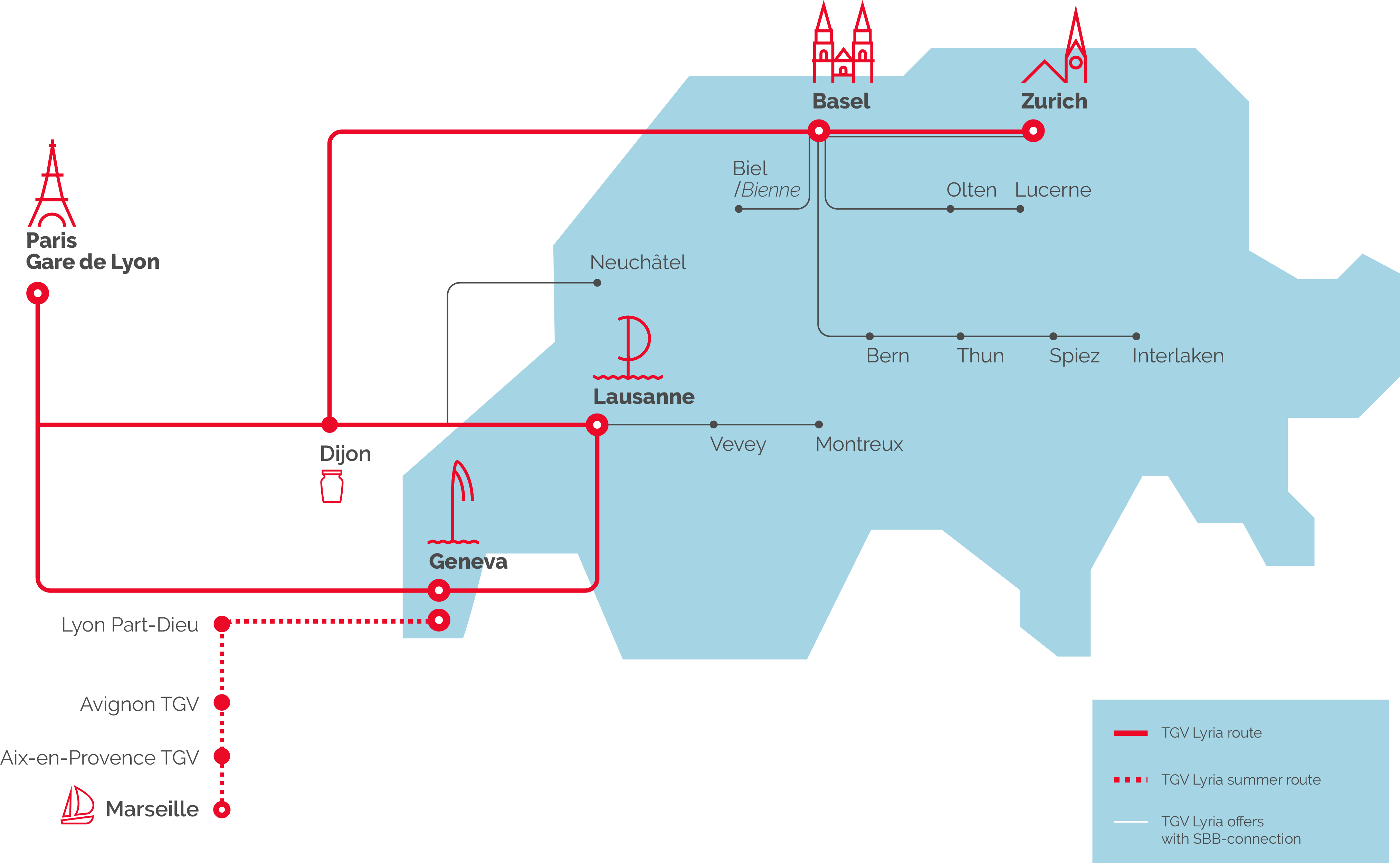 The TGV Lyria network map