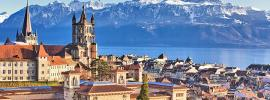 Lausanne cathedral and mountains
